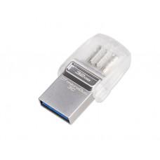 ფლეშ მეხსიერება: Kingston DataTraveler microDuo 3C 32GB USB 3.1 Silver - DTDUO3C/32GB