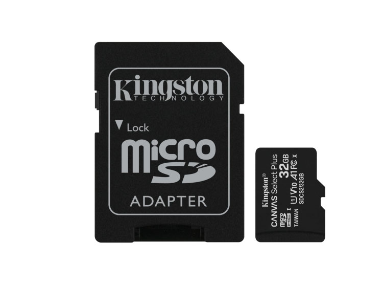Memory Card: Kingston MicroSD Card 32GB UHS-I with Adapter - SDCS232GB